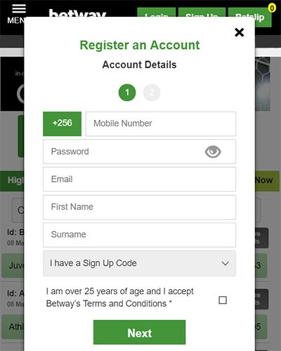Betway Uganda Registration Form