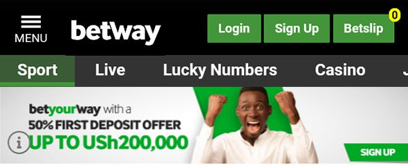 Betway Uganda mobile homepage
