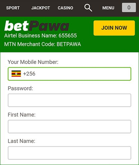 Betpawa registration form
